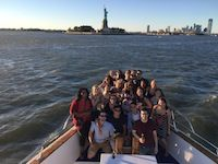 Students on boat ride to Statue of Liberty