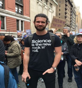 Man wearing science t-shirt.