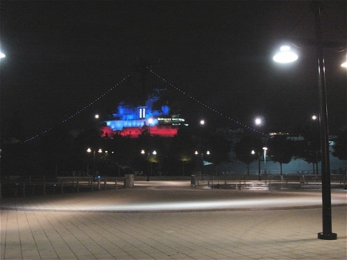 The Intrepid at night.