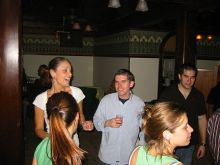Students socializing at a party.