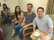 Students enjoy the ice cream social.