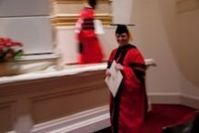 Dr. Kasia Marcinkiewicz marches at her graduation at Carnegie Hall, May 2014. She did her PhD research with Dr. Lorraine Gudas and is now a postdoctoral fellow at NYU.