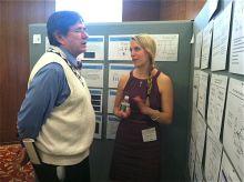 Student discusses presentation.