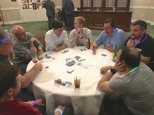 Group playing poker.