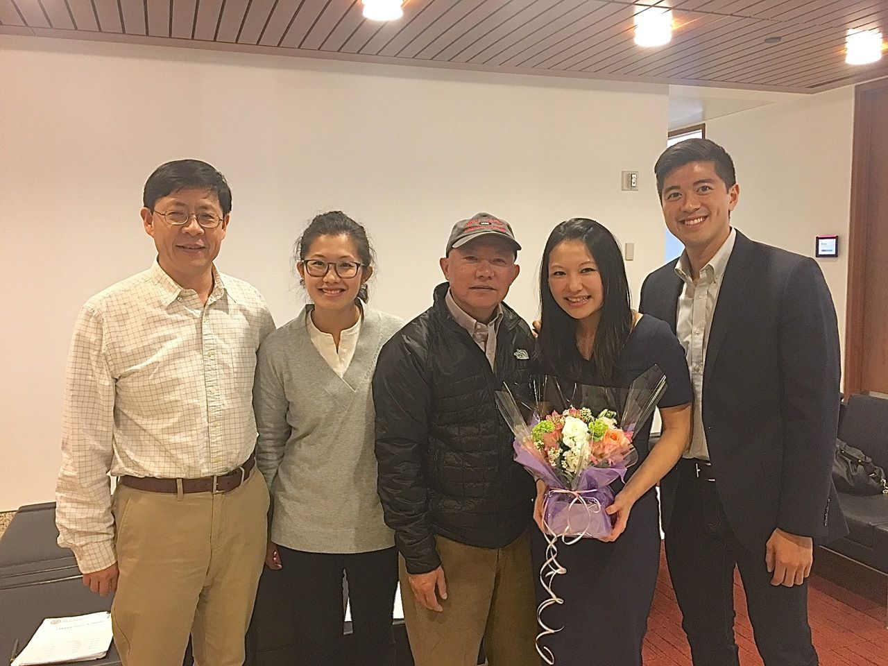Yueming Li, Danica's sister and father, Danica, and Danica's fiance after her thesis defense.