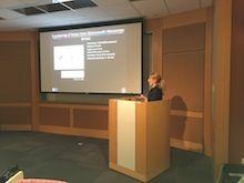 Dr. Katja Haedicke leading a presentation.
