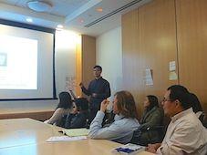 Student leading a presentation.