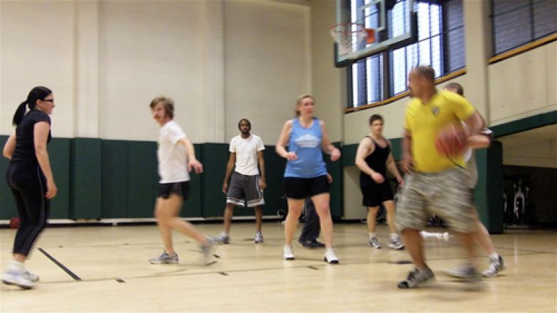 Group playing basketball.
