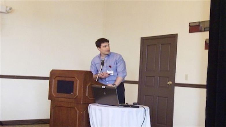 Speaker at a podium.