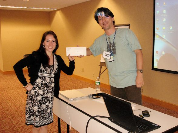 Prize winner Stephanie Cordato and Dr. Luca Cartegni