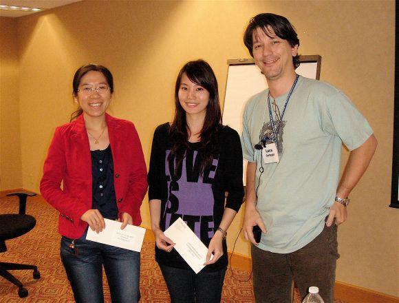 Prize winners Rui Wang and Noel Chan, and Dr. Luca Cartegni