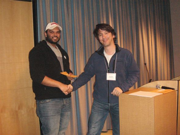 Vikram Kanda and Dr. Luca Cartegni; Vikram was awarded a prize for the best 2nd year and beyond poster