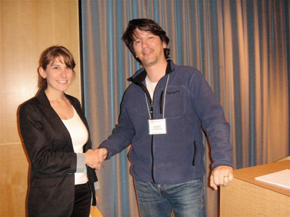 Ellie Petrova and Dr. Luca Cartegni; Ellie was given a Best 5th Year Talk Award