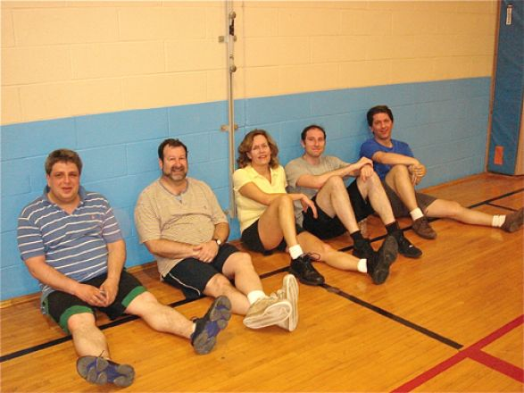 Faculty basketball team: Drs. Alex Birk, David Scheinberg, Lorraine Gudas, Michael Kharas and Luca Cartegni
