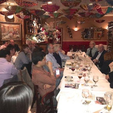 Dr. Jaffrey, Dr. Blenis and others at dinner.