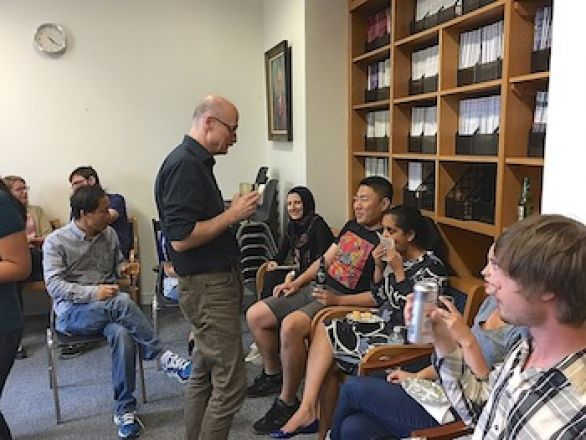 Students and faculty enjoy Dr. Pleil's reception