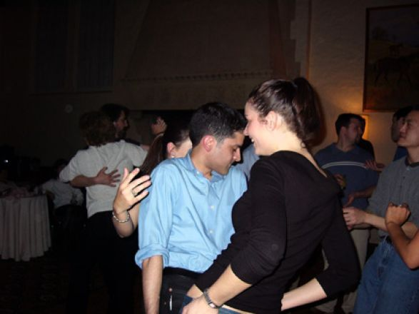 Students dancing at a party.