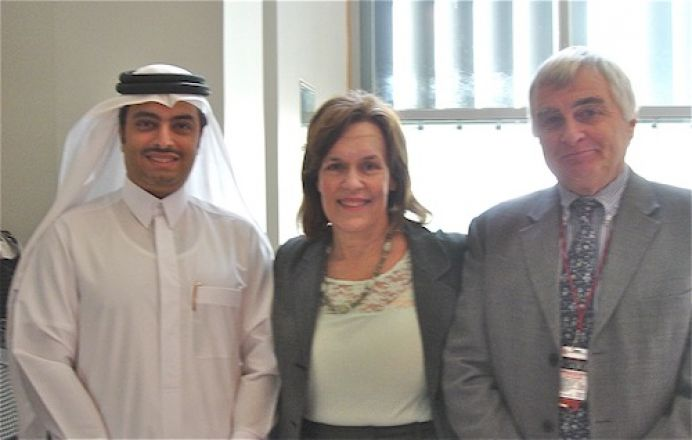 Dr. Mohammed Bin Hamad Bin J. AL-Thani, Director of Public Health, Supreme Council of Health, Qatar; Dr. Gudas; & Dr. Chris Triggle, Pharmacology WCMC-Qatar
