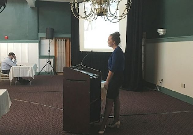 Emily Mercer presenting her research.