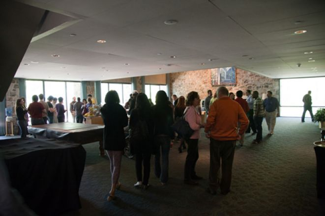 Students socializing at a conference.
