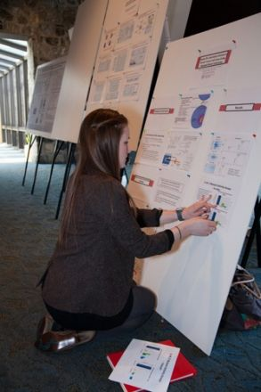 Woman posting a paper on a presentation board.