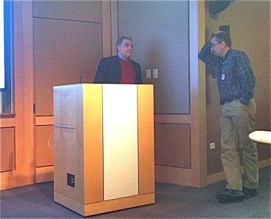Dr. Lucio Castilla, Associate Professor, University of Massachusetts Medical School, answers a question from Dr. Ari Melnick after his Pharmacology Dept. seminar titled: Inv(16) Acute Myeloid Leukemia Targeted Therapy on November 18, 2014.