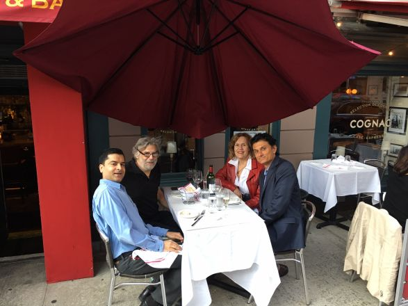 On May 8, 2018, Drs. Samie Jaffrey, Steve Gross, Lorraine Gudas, and Navdeep Chandel out at dinner after Dr. Chandel's seminar titled: Mitochondria as Signaling Organelles.