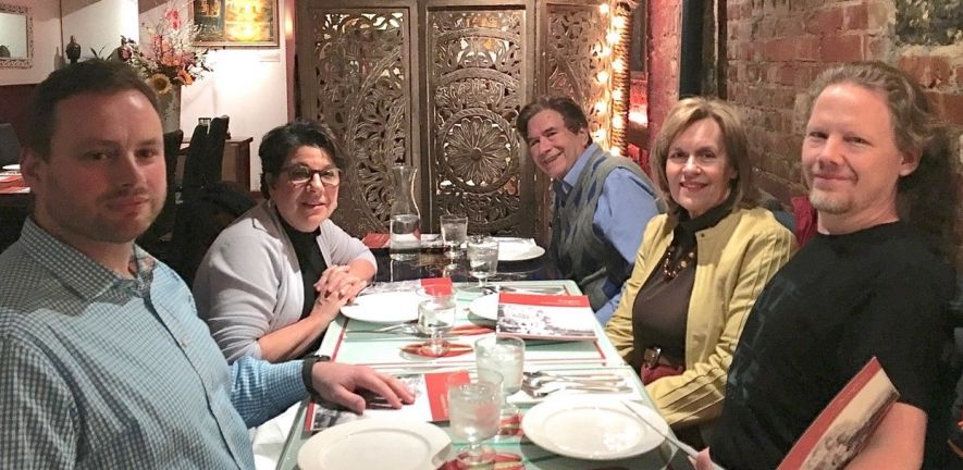 "Dr. Cory Abate-Shen, Chair of the Pharmacology Dept. at Columbia, gave a seminar titled: ""Of Mice and Men: Learning About Human Prostate Cancer by Studying Mouse Models"" on 11-26-19.  At dinner from (L to R) Drs. Nowak, Abate-Shen, Wagner, Gudas & Laursen"