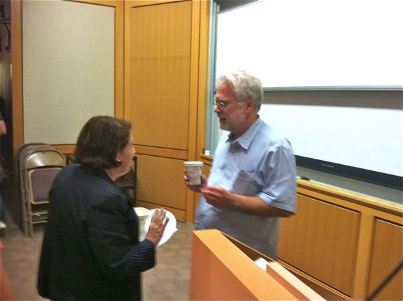 Dr. Rene Hen from Columbia University gave a seminar in the Pharmacology Department on June 19, 2012. Here Dr. Arleen Rifkind speaks with Dr. Hen after his seminar