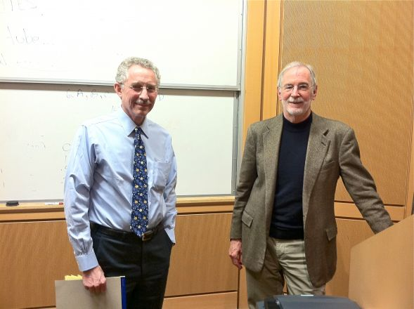 Drs. Carl Nathan and Jon Clardy after the talk on February 28, 2012.