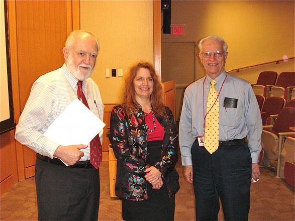 Dr. Roberto Levi, Dr. Roberta Gottlieb, and Dr. Marcus Reidenberg after Dr. Gottlieb's seminar on May 8, 2012.