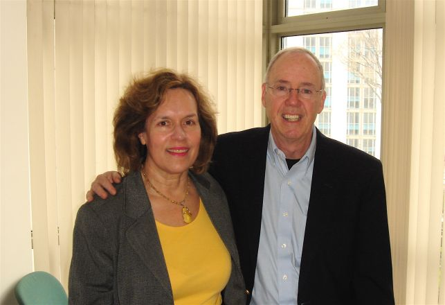 Dr. Lorraine Gudas visits with her former chairman, Dr. Chrisopher Walsh, Professor of Biological Chemistry and Molecular Pharmacology at Harvard Medical School. Dr. Walsh presented the President's Seminar at MSKCC on April 13, 2011.