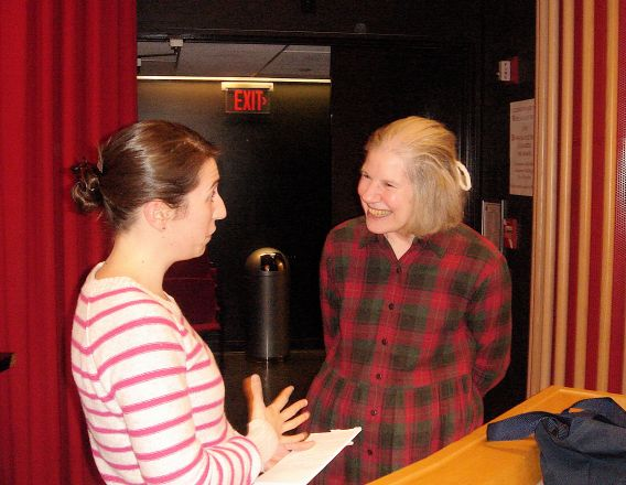 "Graduate student Alessia Deglincerti speaks with Dr. Susan Gerbi after Dr. Gerbi's seminar titled ""Evolution of Ribosoma RNA: Ribosome biogenesis and coordination with cell division "" on March 15, 2011."