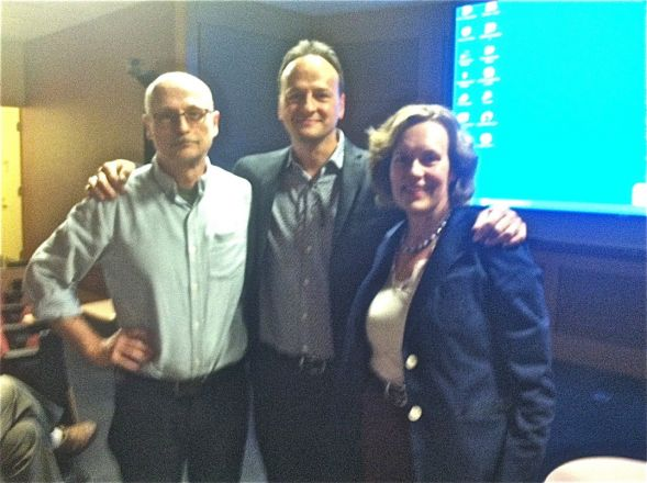 "Dr. Etienne Sibille, a former PhD student with Dr. Miklos Toth, gave a research talk on ""Somatostatin-GABA Neurons, Depression, and Aging"" on October 7, 2014. . Here are Miklos, Etienne, and Lorraine before the seminar."