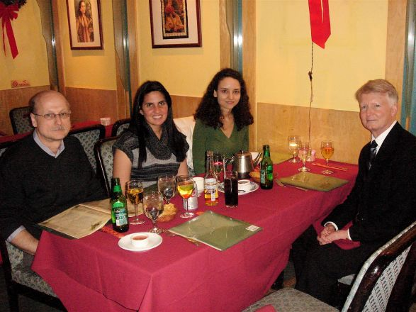 Dr. Gary Brewer presented his research in the Pharmacology Dept. seminar series on December 20, 2011. Pictured at dinner after the seminar are Drs. Miklos Toth, Frances Gratacos, Dussica Curanovic and Dr. Brewer.