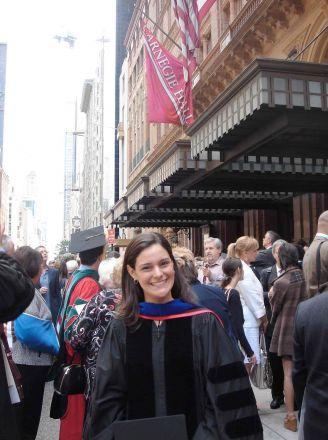 Graduate outside of Carnegie Hall.