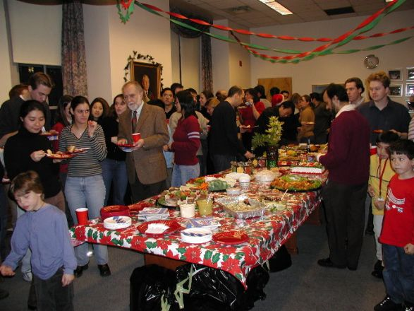 Students and faculty enjoy Holiday Party 2001.