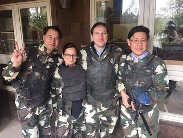 Dr. Kentsis, Dr. David, Dr. Kharas and Dr. Li paintballing at the Retreat.