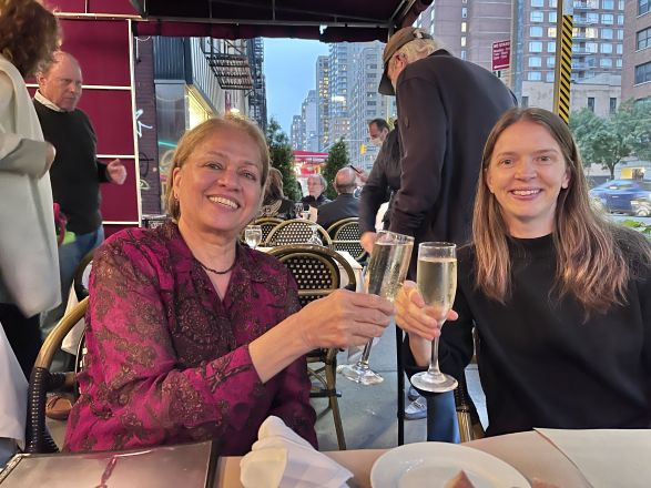 """Dr. Lakshmi Devi gave a seminar titled:""""G Protein-Coupled Receptor Dimers and Orphans: Novel Therapeutic Targets for Pain and Addiction"""" on October 5, 2021. Here is a picture of Dr. Devi and Dr. Pleil at dinner after the seminar."""