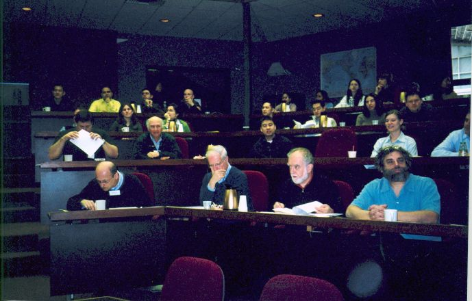 Audience during a presentation.