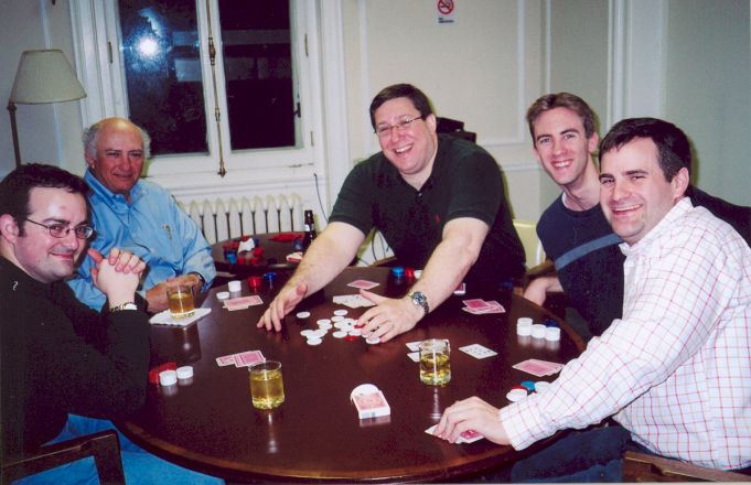 Colleagues playing poker.