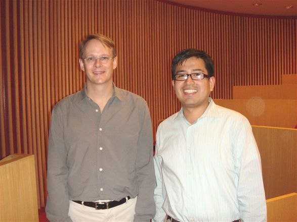 Dr. Loren Runnels, Pharmacology Dept. seminar speaker on April 12, 2011, with postdoctoral fellow Dr. Ron Perez after the seminar.