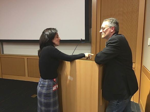 "Dr. Gaetano Santulli from Albert Einstein presented an interesting seminar titled: ""Intracellular Calcium in Cardiac and Metabolic Disorder"" on December 10th, 2019.  Here he is after his seminar talking with WCM faculty member Dr. Annarita Di Lorenzo."